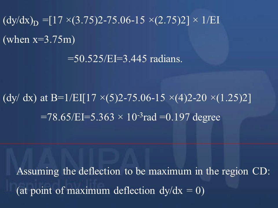 (dy/dx)D =[17 ×(3.75)2-75.06-15 ×(2.75)2] × 1/EI